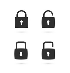 set of flat padlock icons vector image