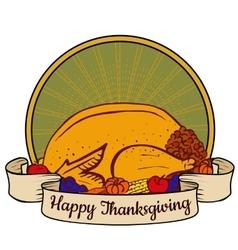 tray with turkey vector image