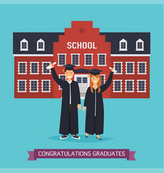 boy and girl graduates school building on a vector image vector image