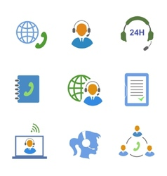 Call center service icons set of contacts mobile vector image vector image