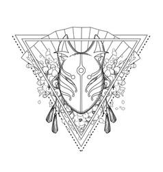 graphic demon fox mask vector image vector image
