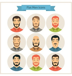 Men Characters Flat Circle Icons Set vector image vector image