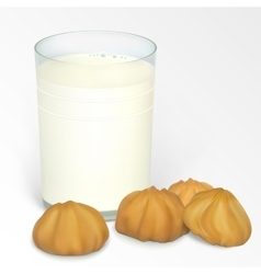 Milk and cookie vector image vector image