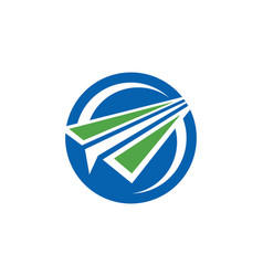 paper plane round logo vector image vector image