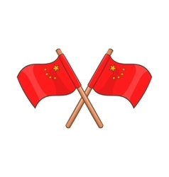 Two crossed flags of China icon cartoon style vector image