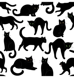 black cats seamless vector image