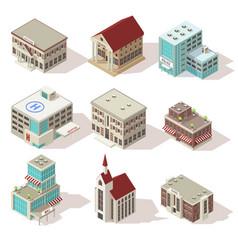 City buildings isometric icons set vector