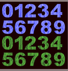set of grunge blue green numbers vector image vector image