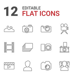 12 picture icons vector image