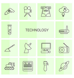 14 technology icons vector image
