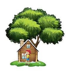 A house under the tree with little girl playing vector
