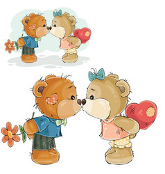 a pair of brown teddy bears vector image