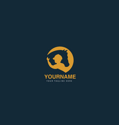 Abstract elegant round horsing logo design icon vector