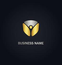 Abstract happy man gold logo vector