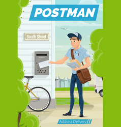 Address delivery postman with letter and mailbox vector