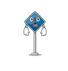 Afraid miniature mascot on shape straight ahead vector