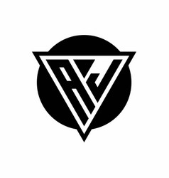 Aj logo with negative space triangle and circle vector