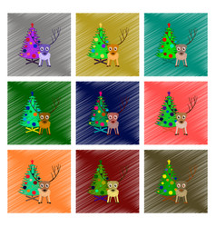 Assembly flat shading style christmas tree deer vector
