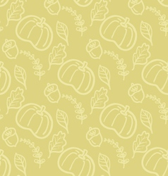 Autumn seamless background with pumpkin and leaves vector