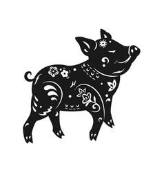 Black white pig for chinese vector