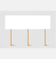 blank protest sign with wooden holder realistic vector image