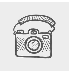 Camera with handle sketch icon vector image