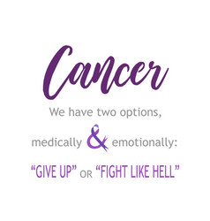 Cancer survivor quotes- give up or fight like hell vector