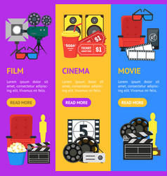 cartoon cinema color banner vecrtical set vector image