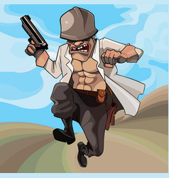 cartoon male soldier runs with a gun in his hand vector image