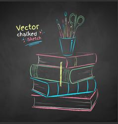 chalk books and desk organizer vector image