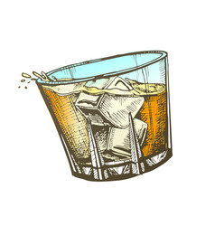 Color design glass with whisky and ice cubes vector