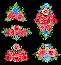 colorful collection of ornate decorative floral vector image