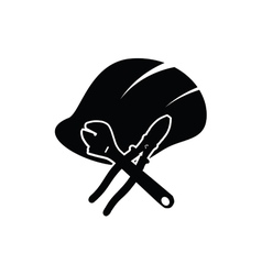 construction tin hat with tools black vector image