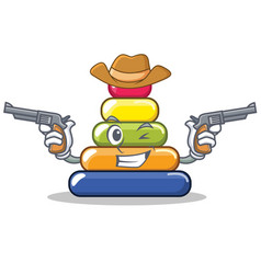Cowboy pyramid ring character cartoon vector