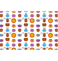 Cute animals faces seamless pattern cat dog vector