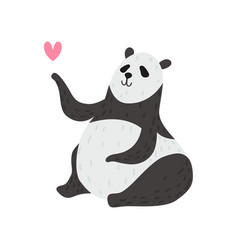 cute panda bear with pink heart happy lovely vector image