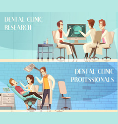 Dental clinic horizontal banners vector