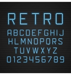design retro signboard letters with light vector image