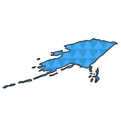 dotted line map of alaska vector image