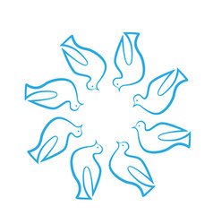 Doves in a circle group icon vector