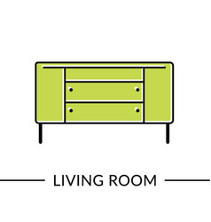 dresser living room furniture vector image