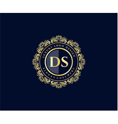 Ds initial letter gold calligraphic feminine vector