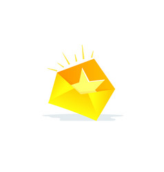 Envelope favorite letter with a star in the mail vector