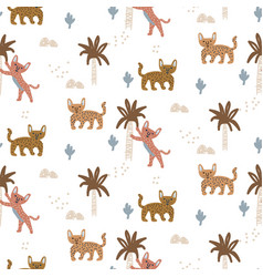 exotic wild cat seamless pattern with abstract vector image