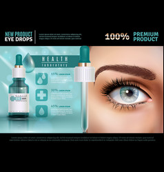 Eye drops realistic advertising poster vector