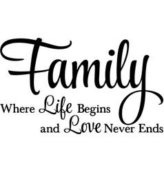 Family where life begins inspiration quotes design vector