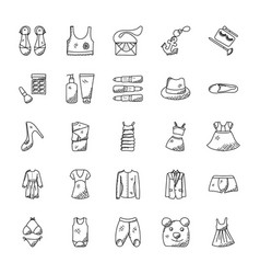 fashion doodle icons set vector image