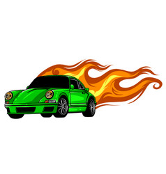 Fast car flames desgn art vector