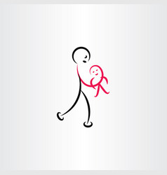 father holding baby symbol vector image