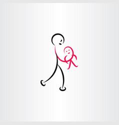 Father holding basymbol vector